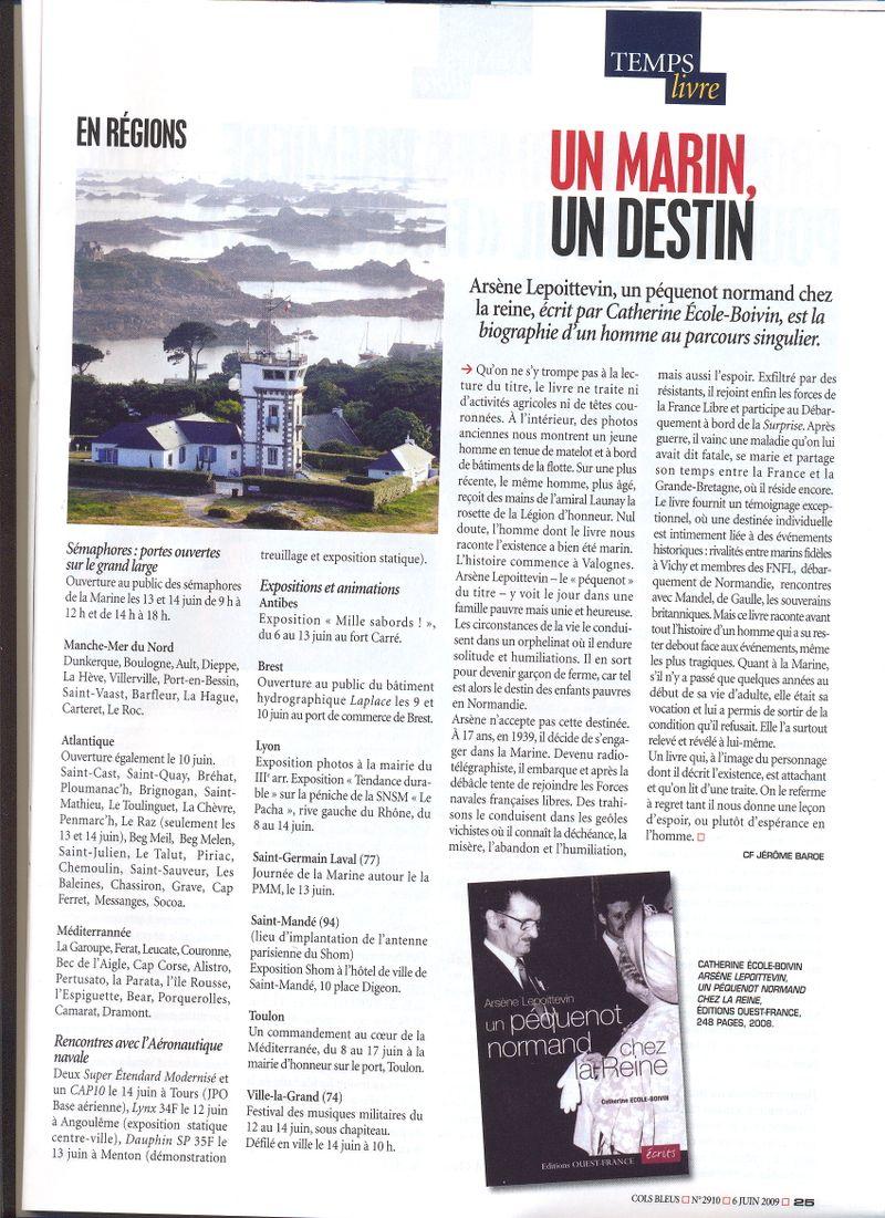 Cols Bleus n° 2940 du 06.06.2009 Arsène LEPOITTEVIN et Catherine